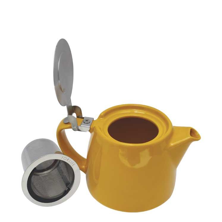 Accesorios para preparar té - Forlife Jarra infusora de cerámica con tapa metalica 530 ml