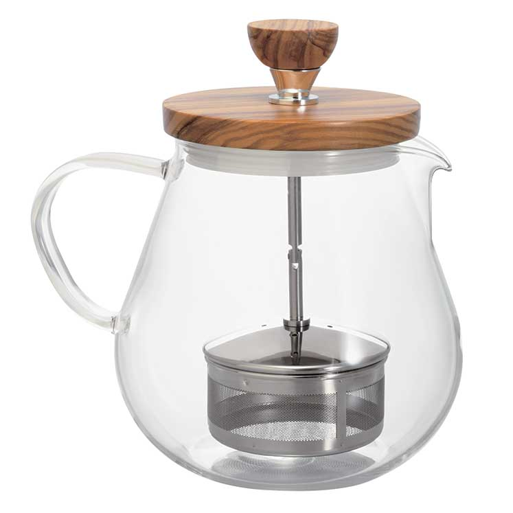 Accesorios para preparar té - Hario Tetera Tapa de Madera Infusor de Metal