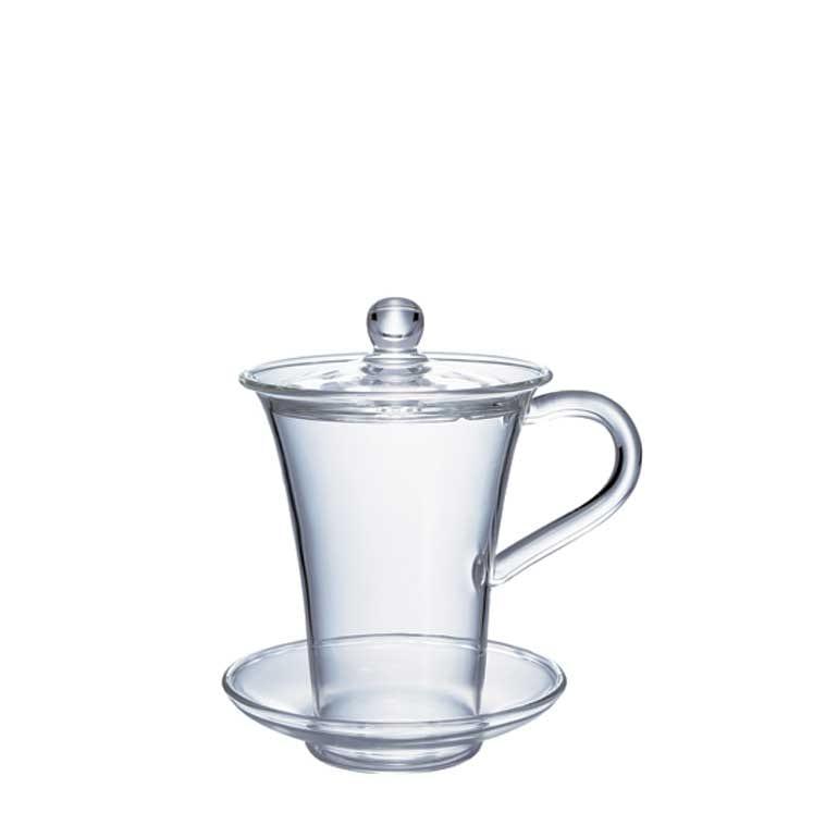 Accesorios para preparar té - Hario Vaso Hana Cha Glass con tapa y plato