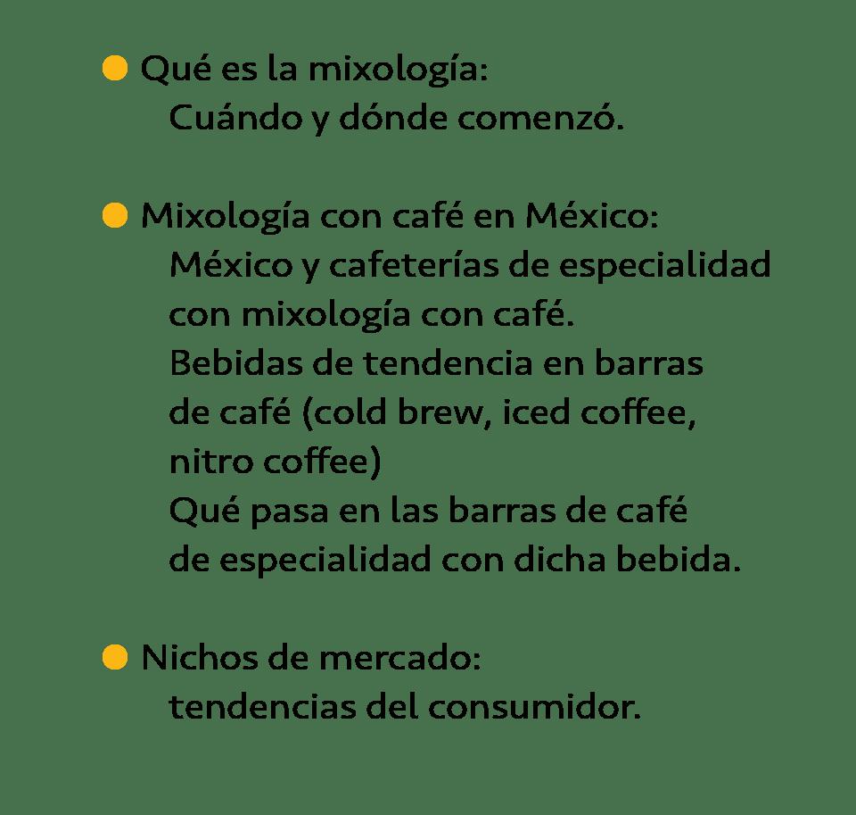 Taller de mixología con café aprenderás
