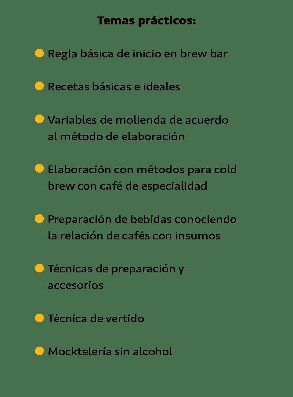 Temas prácticos taller de brew bar cold brew mixología