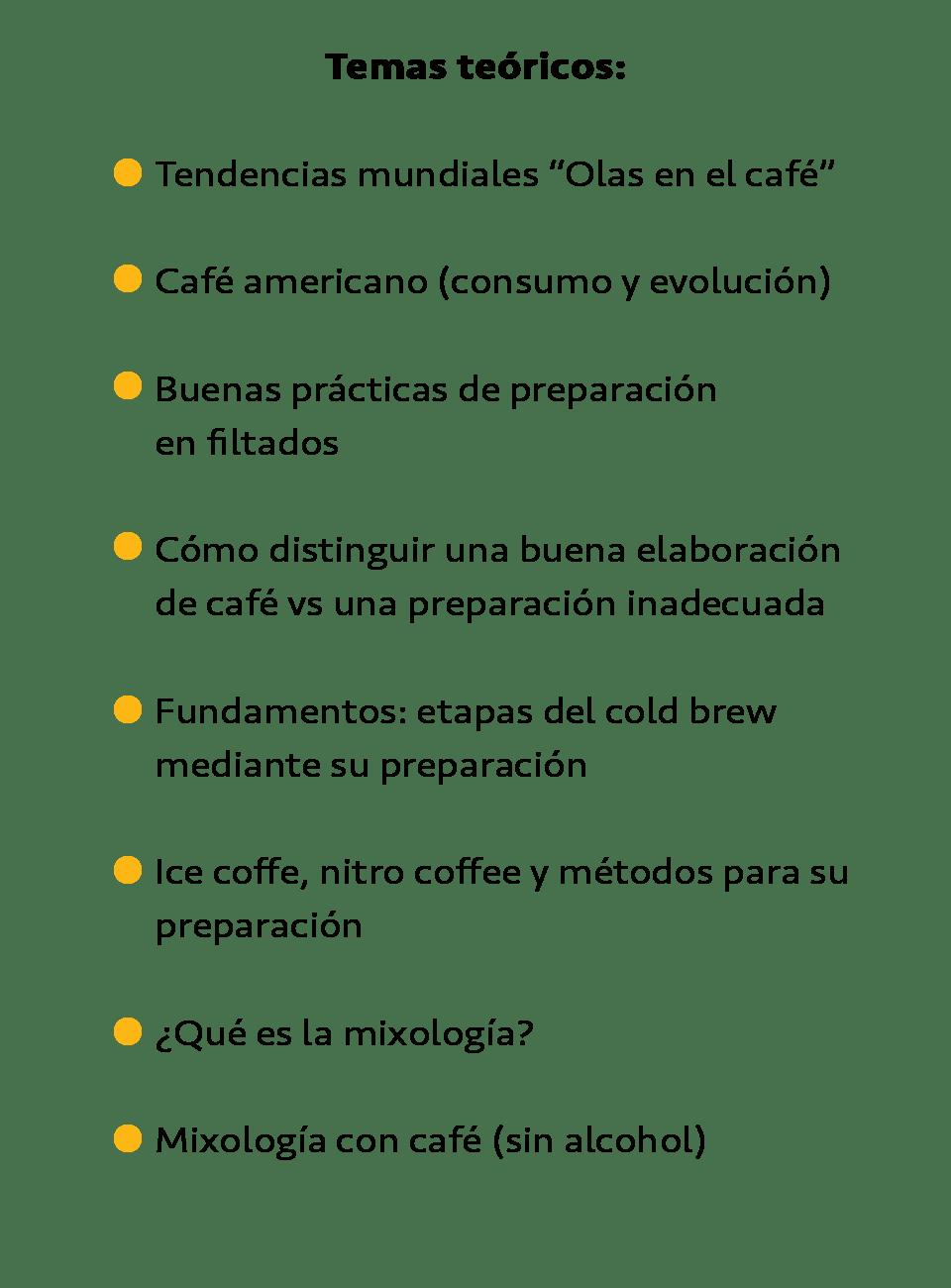 Temas teóricos taller de brew bar cold brew mixología
